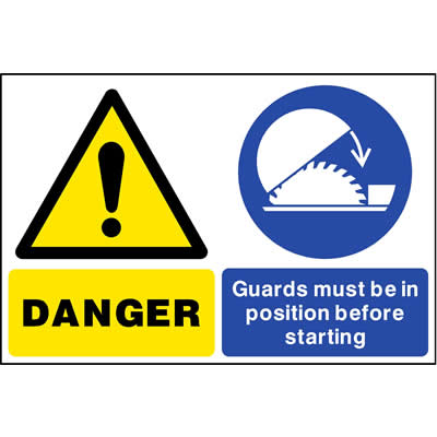 Danger - Guards must be in position before starting