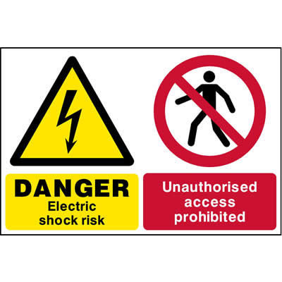 Electric shock risk - Unauthorised access prohibited