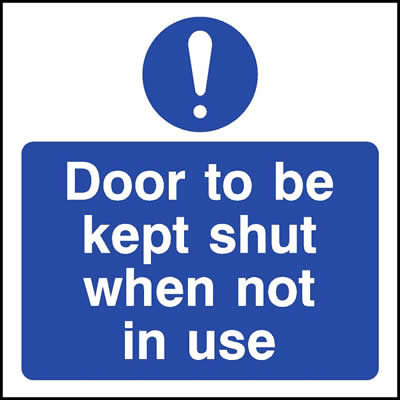 Door to be kept shut when not in use with Symbol