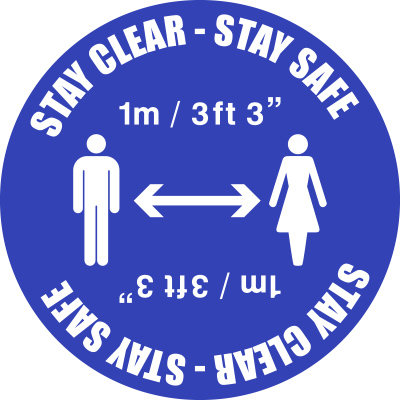 1m Social Distancing Floor Marker Stay Clear Stay Safe