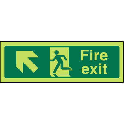 Fire Exit Left Up Glow-in-the-dark Sign