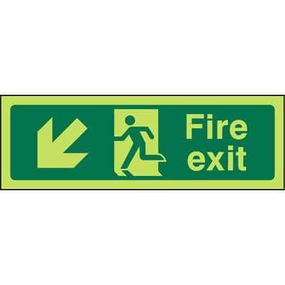 Fire Exit Left Down (Luminous)