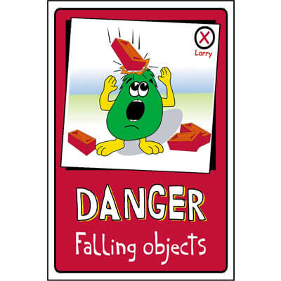 Danger - Falling objects, Larry Safety Sign
