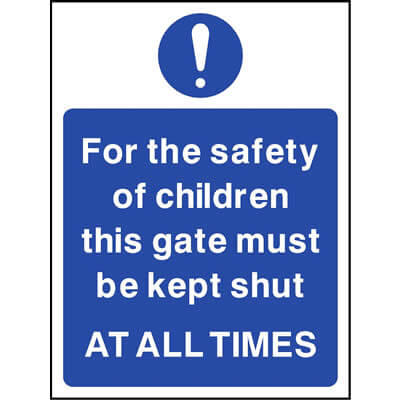 For the safety of children keep gate shut