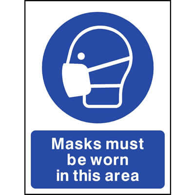 Masks must be worn in this area - safety signs