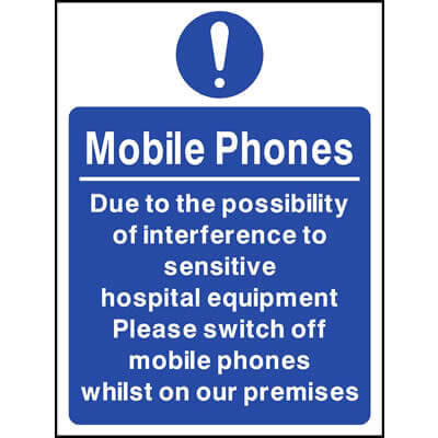 Due to interference with hospital equipment switch off mobiles