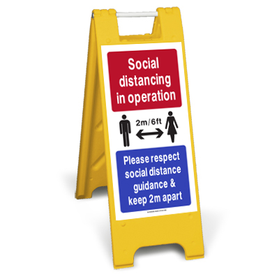 2m Social distancing in operation sign stand