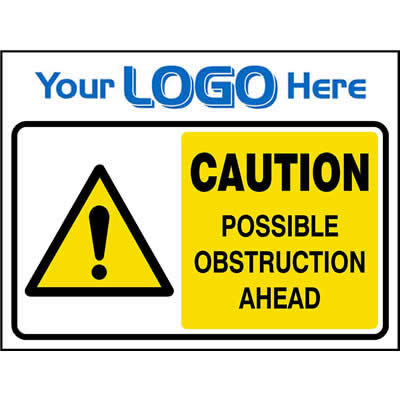 Caution possible obstruction ahead sign