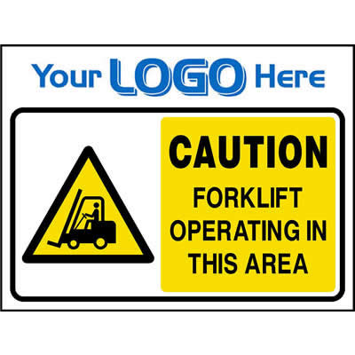 Caution forklift operating in this area sign