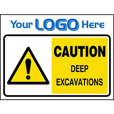 Caution deep excavations sign