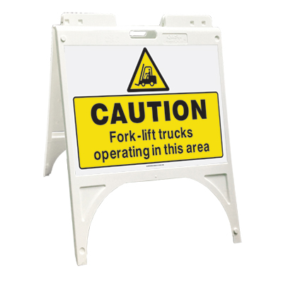 Caution - Fork-lift trucks operating in this area (Quik Sign)