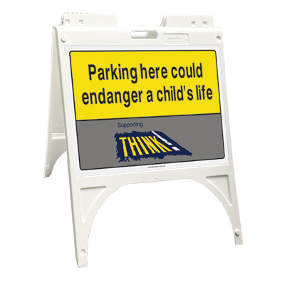 Think! Parking here could endanger... (Quik Sign)