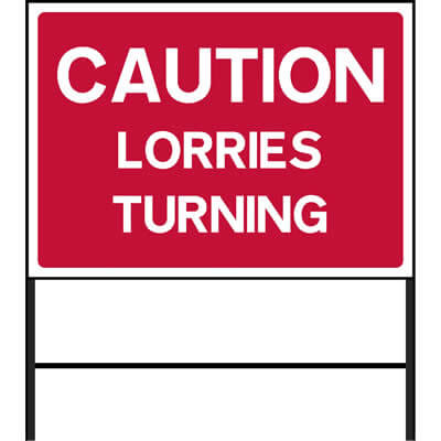Caution - Lorries turning (Temp.)