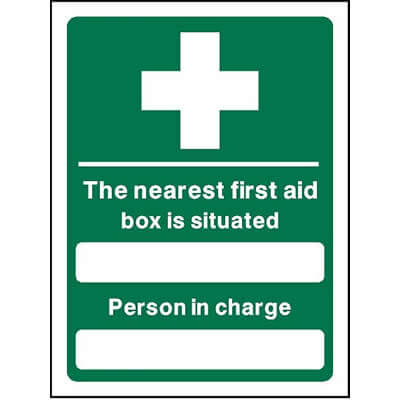 The nearest first aid box is situated...