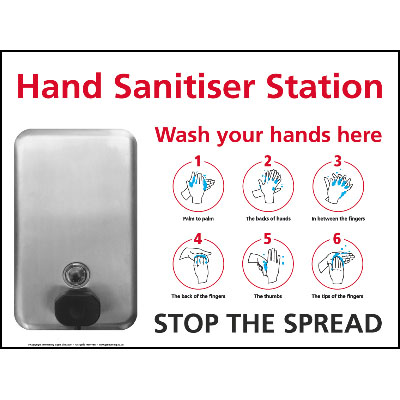 6 Step Hand Wash Sanitiser Wall Station