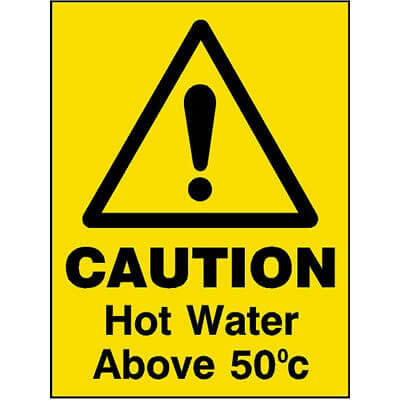 Caution hot water above 50 degrees celsius sign
